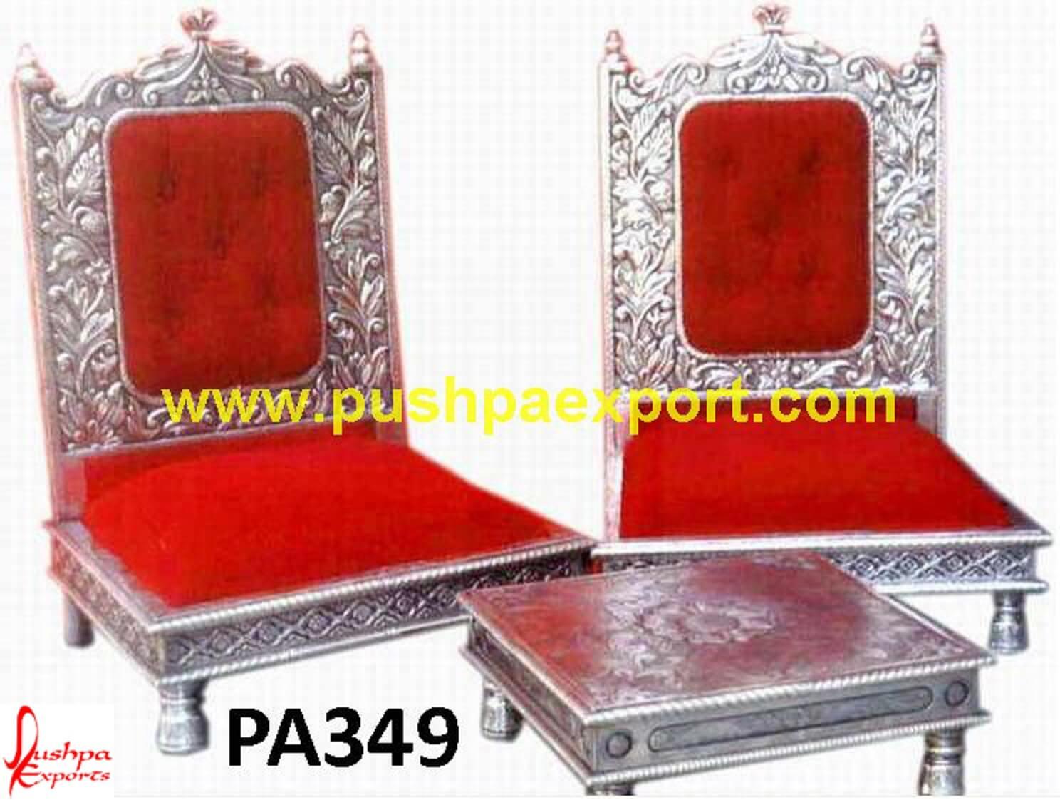 Silver Wedding Mandap Low Seating Chairs